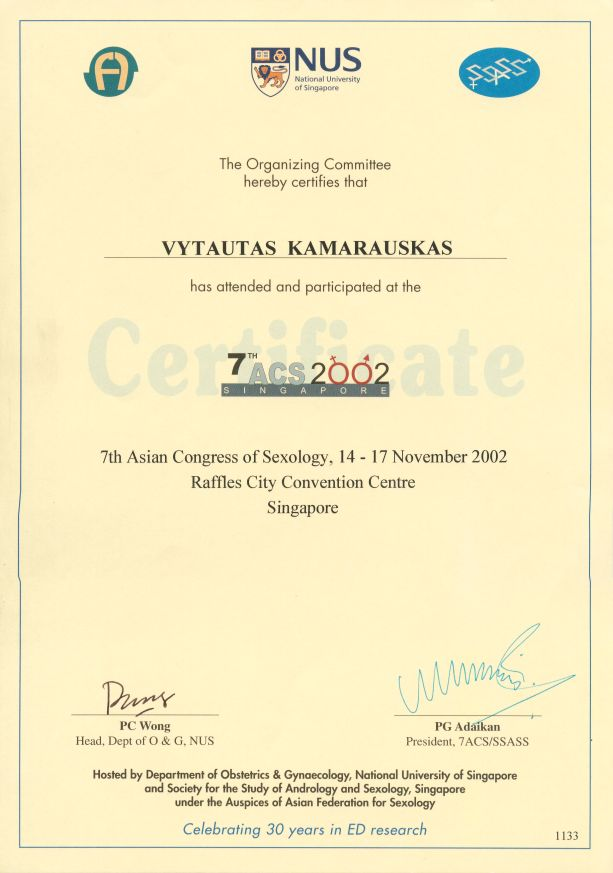 7th Asian Congress of Sexology, 14-17th November 2002 in Singapore