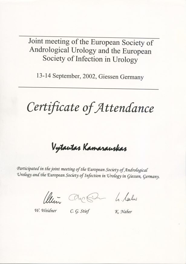 Joint meeting of the European Society of Andrological Urology and the European Society of Infection in Urology, 13-14 September 2002 in Giessen