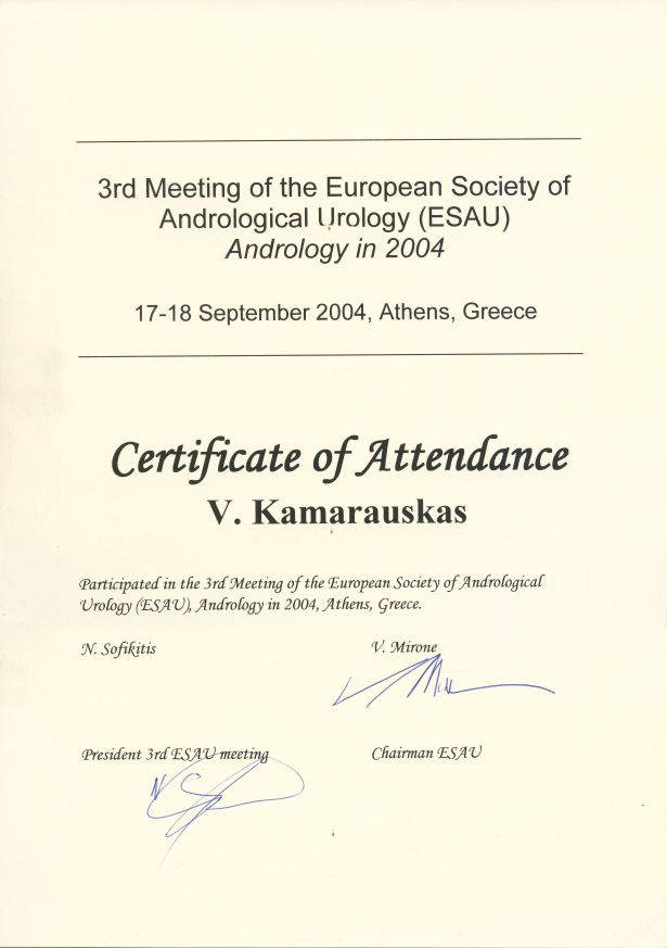 3rd Meeting of the European Society of Andrological Urology in Athens, 17-18 September 2004