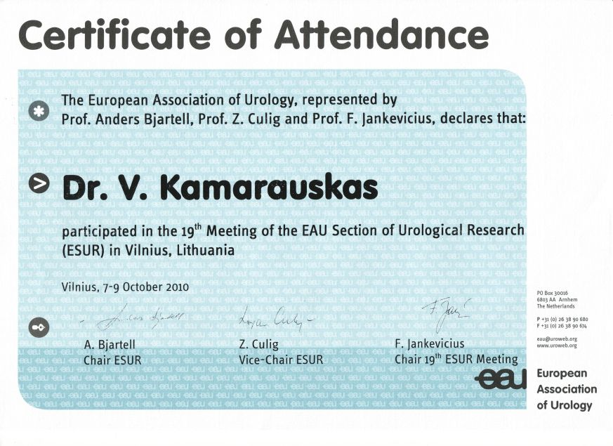 19th Meeting of the European Association of Urology Section of Urological Research in Vilnius, 7-9 October 2010