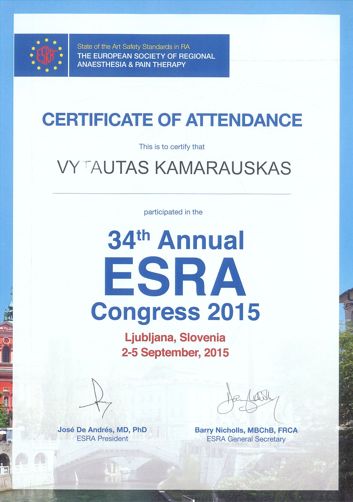 34th Annual ESRA Congress 2015 in Ljubljana, Slovenia 2-5 September